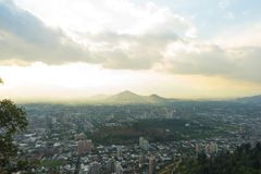 Vista panorâmico de santiago do Chile Fotos de Stock Royalty Free