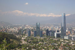 Vista panorâmico de santiago do Chile imagens de stock