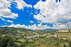 Vista panorâmico de Spoleto. Úmbria. Foto de Stock Royalty Free