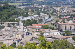 Vista panorâmico de Spoleto. Úmbria. Imagem de Stock