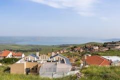 Vista panorámica de la ciudad Safed Zefat, Tsfat y el mar de Galilea en Israel septentrional imagen de archivo