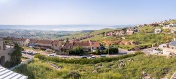 Vista panorámica de la ciudad Safed Zefat, Tsfat y el mar de Galilea en Israel septentrional fotos de archivo libres de regalías