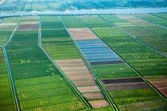 Vista panor?mica de los campos con los canales de agua, tomada del avi?n foto de archivo
