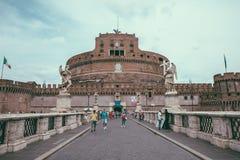 Vista panor?mica del exterior de Castel Sant ' ?ngel (mausoleo de Hadrian) foto de archivo libre de regalías