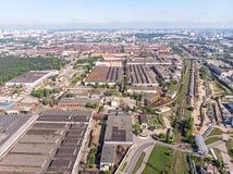 Vista panoramica aerea dell'industriale urbano e dell'area commerciale fotografia stock