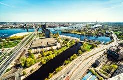 Vista panoramica aerea della città di Riga fotografia stock libera da diritti