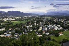 Vista panoramica aerea della città storica famosa di Salisburgo Fotografia Stock