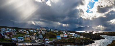 Vista panoramica aerea di Stykkisholmur l'islanda Immagini Stock