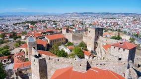 Vista panoramica aerea di vecchio castello bizantino nella città di Fotografia Stock