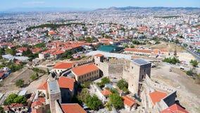Vista panoramica aerea di vecchio castello bizantino nella città di Fotografia Stock Libera da Diritti