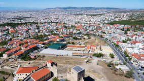 Vista panoramica aerea di vecchio castello bizantino nella città di Immagini Stock Libere da Diritti