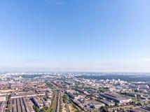 Vista panoramica aerea di zona industriale della città immagini stock libere da diritti