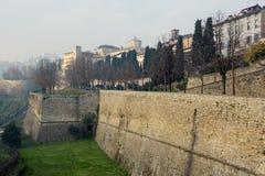 Vista panoramica aerea sulla città di Bergamo in Italia del Nord Fotografia Stock
