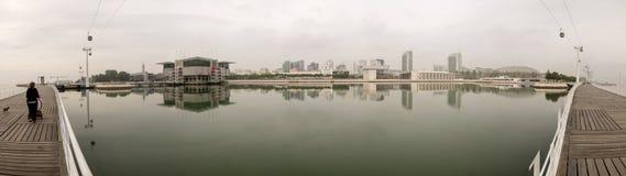Vista panoramica al sito dell'Expo a Lisbona fotografia stock libera da diritti