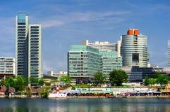 Vista panoramica alla città di Donau, Vienna fotografia stock