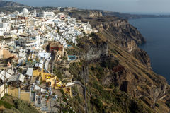 Vista panoramica alla città di Fira, isola di Santorini, Thira, Grecia Immagini Stock