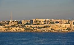 Vista panoramica alla villa Bighi da Valletta Fotografia Stock
