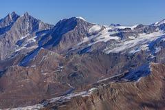 Vista panoramica alle alpi svizzere dal paradiso del ghiacciaio del Cervino alle alpi, Svizzera Fotografia Stock Libera da Diritti
