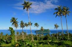 Vista panoramica attraverso le palme e vegetazione indigena all'orizzonte dell'oceano Pacifico con l'isola tropicale a distanza immagini stock libere da diritti