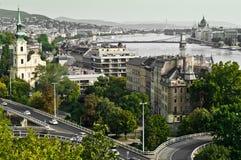 Vista panoramica d'annata di Budapest, Ungheria Immagini Stock Libere da Diritti