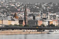 Vista panoramica d'annata di Budapest - Watertown, Ungheria Fotografie Stock
