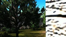 vista panoramica 19 3D sul giardino segreto e sulla vecchia chiesa illustrazione di stock