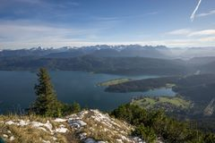 Vista panoramica da Herzogstand a Walchensee Fotografie Stock