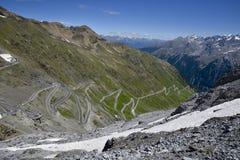 Vista panoramica da Stelvio Pass Fotografia Stock Libera da Diritti