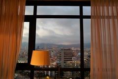 Vista panoramica da una camera di albergo Fotografie Stock