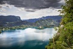 Vista panoramica dal castello sanguinato, Slovenia. Fotografie Stock Libere da Diritti