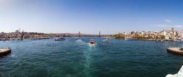 Vista panoramica dal ponte di Galata, Costantinopoli Immagini Stock Libere da Diritti
