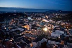 Vista panoramica dalla fortezza di Salisburgo al tramonto Austria Fotografia Stock