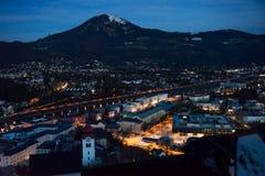 Vista panoramica dalla fortezza di Salisburgo al tramonto Austria Immagini Stock
