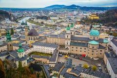 Vista panoramica dalla fortezza di Salisburgo, Austria Fotografia Stock Libera da Diritti