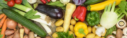 Vista panoramica dei frutti della verdura fresca Immagine Stock