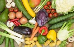 Vista panoramica dei frutti della verdura fresca Immagini Stock