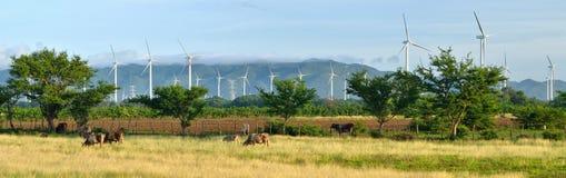 Vista panoramica dei mulini a vento moderni su un fondo del mounta Fotografie Stock