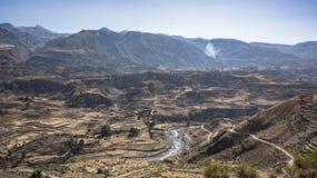 Vista panoramica del canyon di Colca, Perù, Sudamerica con l'agricoltura dei terrazzi Immagine Stock