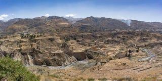 Vista panoramica del canyon di Colca, Perù, Sudamerica con l'agricoltura dei terrazzi Fotografie Stock
