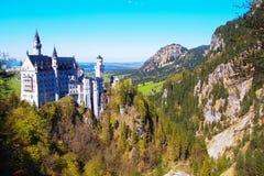 Vista panoramica del castello del Neuschwanstein, Germania Fotografia Stock Libera da Diritti