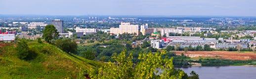 Vista panoramica del distretto di industria a Nižnij Novgorod fotografia stock