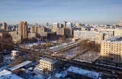 Vista panoramica del distretto sudoccidentale di Mosca nell'inverno La Russia Fotografia Stock Libera da Diritti