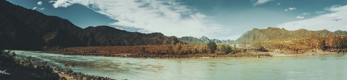 Vista panoramica del fiume di Katun e delle montagne di Altai Immagini Stock