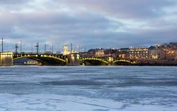 Vista panoramica del fiume di Neva Fotografia Stock