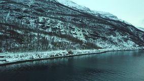 Vista panoramica del fuco aereo del fiordo, della foresta e delle montagne Norvegia stock footage