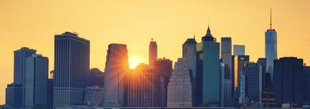 Vista panoramica del Midtown di New York Manhattan al tramonto immagine stock