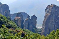 Vista panoramica del monastero di Meteora, Grecia Immagini Stock Libere da Diritti