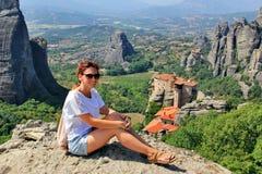 Vista panoramica del monastero di Meteora, Grecia Fotografia Stock