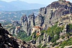 Vista panoramica del monastero di Meteora, Grecia Fotografie Stock Libere da Diritti