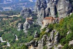 Vista panoramica del monastero di Meteora, Grecia Immagine Stock